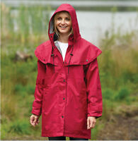Ladies 3/4 Mid Length Waterproof Riding Rain Jacket Country Coat With Cape