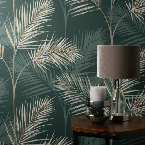 South Beach Palm Leaf Fine Decor Wallpaper Emerald Green Metallic Mica FD42679
