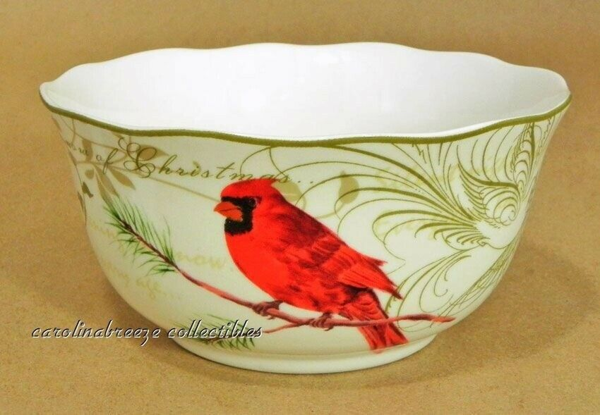 222 Fifth Holly Wishes Soup Bowls Set of 4 New Christmas Cardinal & Pine Cones