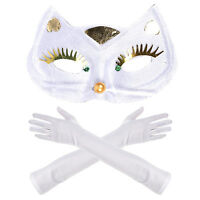 Deluxe Cat Woman Masquerade Costume Halloween Set - Cat Mask & Elbow Gloves