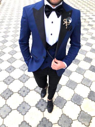 mariage 52 designer taille fit gilet smoking slim hommes parti Costume de bleu qw4SWXZ