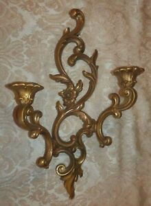 SYROCO-Gold-Wall-Sconce-Double-Candle-Holder-3930-Hollywood-Regency-1959
