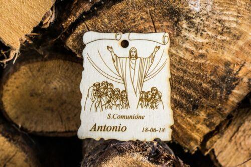Pergamena comunione cresima incisione nome e data legno disegno ultima cena