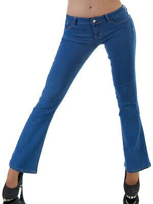 Da Donna Bootcut Jeans Colpo Pantaloni Hüftjeans Trendy Stretch Blu S M L 36 38 40 Nuovo-mostra Il Titolo Originale Prestazioni Affidabili