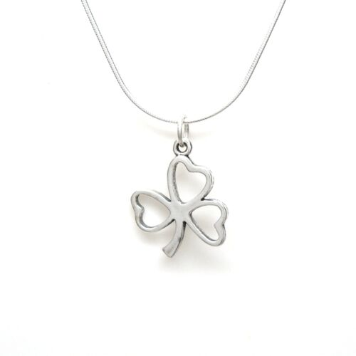 SHAMROCK 925 Sterling Silver Necklace Chain and Charm #2072