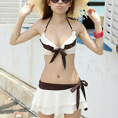 New Sexy Girl's/Women's Bikini SET Push-up Bra Swimsuit Spa Swimwear Suit Skirt