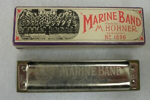 Vintage-Hohner-US-Marine-Band-Germany-Harmonica-Key-G-with-Box