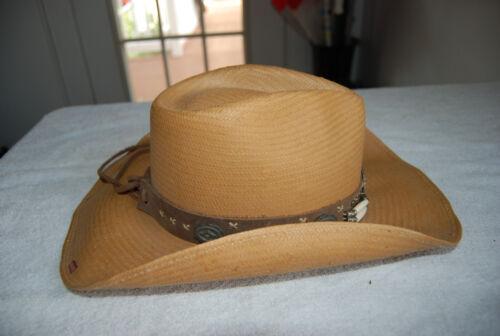 Perlen Western Hut Conchos Hellbrauner Bullhide M Style Lederband W W Stroh z611Iqwx