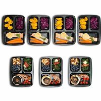 Food Containers Compartment Lids Lunch Box Divided Plate Freezer Dishwasher Safe