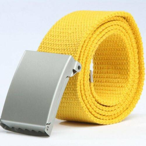 Man Fashion Webbing Military Style Canvas Tan Gürtel Belt Metal Buckle Hot
