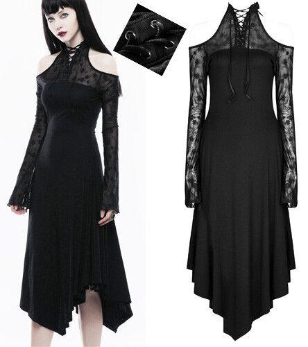 52e9f7ac8d8 Robe asymétrique gothique punk lolita dentelle laçage épaule nu nu nu  soirée PunkRave 29e725
