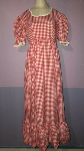 Vtg 60s 70s BOHO Prairie Style Red Gingham & Lace
