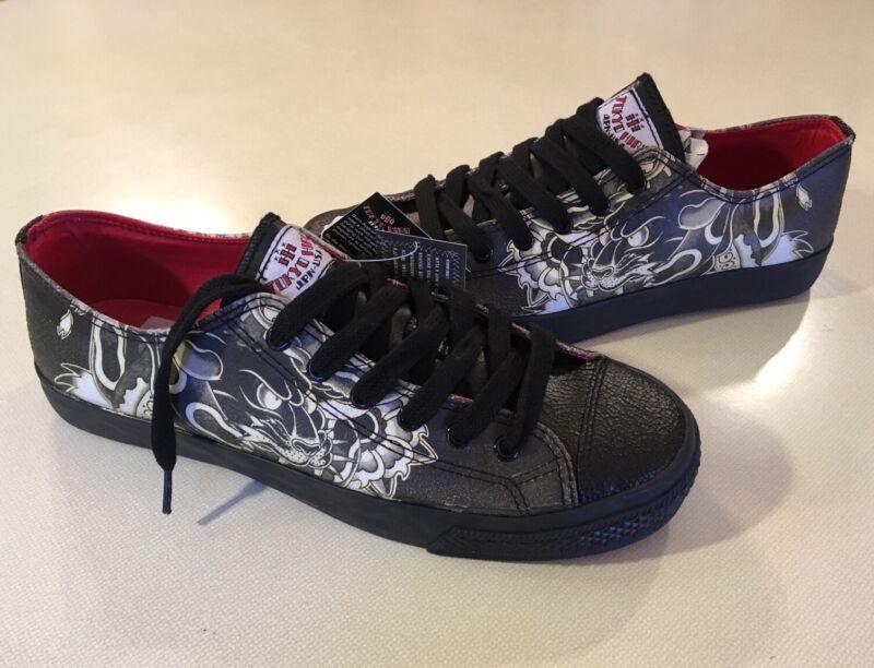 Draven Tokyo Hiro Tatakai Irezumu Tattoo Leather Skate Shoes Sneakers 9 10 11 12