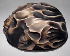 Motorcycle Half Helmet Chopper Skull Death 3D Flames Biker Triker Harley