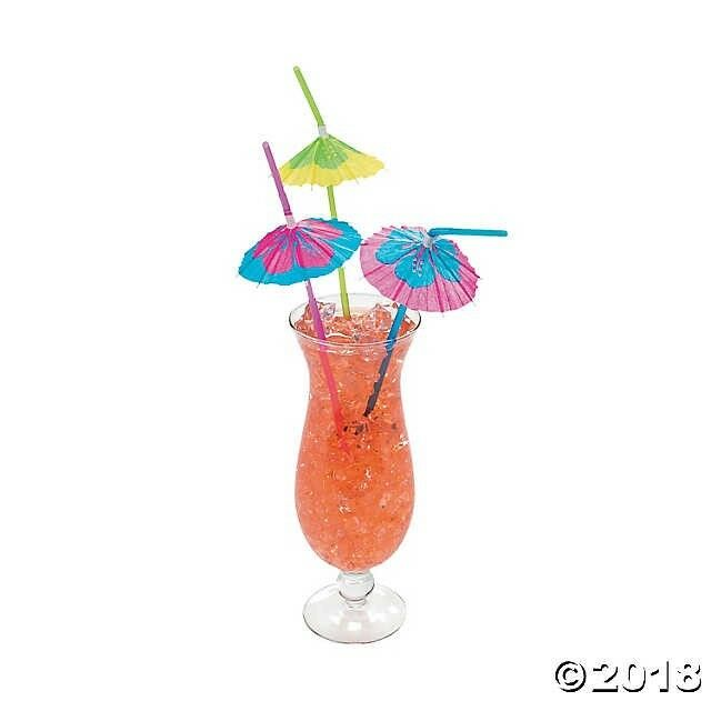Lot of 24 Hibiscus Parasol Plastic Straw Luau Tropical Beach Party Barware Favor