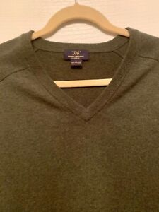 Brooks-Brothers-346-Long-Sleeve-V-Neck-Pullover-Sweater-100-Cashmere-Men-039-s-Sz-L