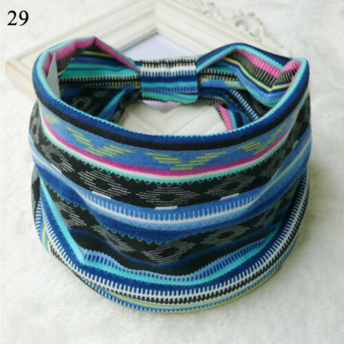 Details about  /Women Boho Wide Cotton Stretch Headband Turban Sports Yoga Knotted Headwrap New