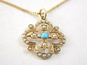 Antique-15-Carat-Turquoise-and-Pearl-18ct-16-034-Gold-Necklace-4-9g