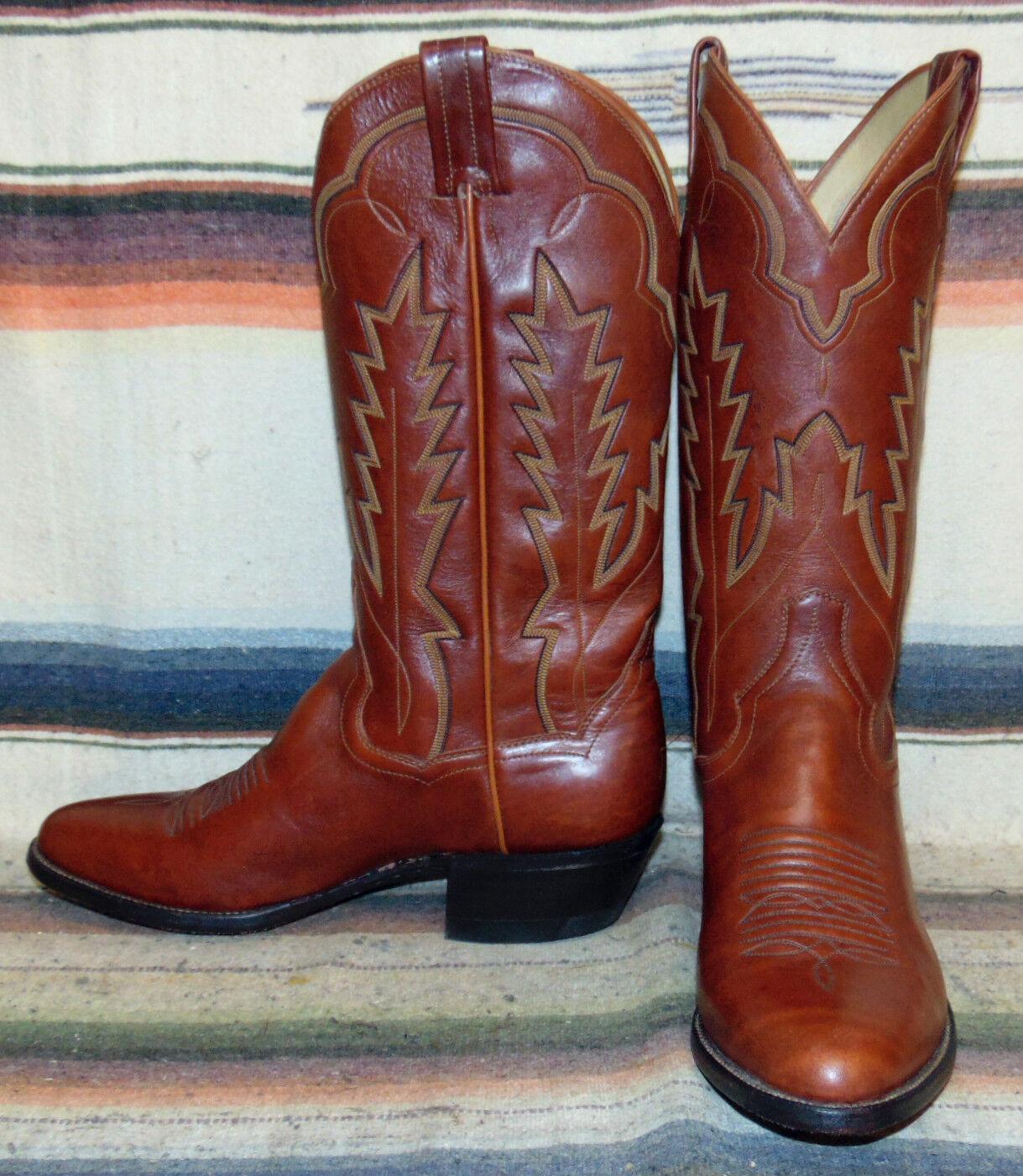 Vintage Panhandle Slim Brown Pelle Cowboy Stivali Uomo 8 D / Donna 9.5 M New