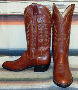 682ac6f1282 Details about Vintage Panhandle Slim Brown Leather Cowboy Boots Mens 8 D /  Womens 9.5 M New