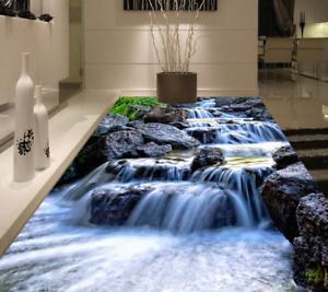 3D gris Stone River Piso impresión de parojo de papel pintado mural 5 5D AJ Wallpaper Reino Unido Limón
