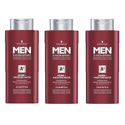 (19,93€/L) 3x 250ml Schwarzkopf Men A+ Shampoo Arginin Wachstums Faktor Kopfhaut