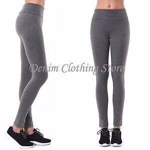 df0c3e44be719 Image is loading Women-Waistband-Solid-Cotton-Span-Full-Length-Leggings-