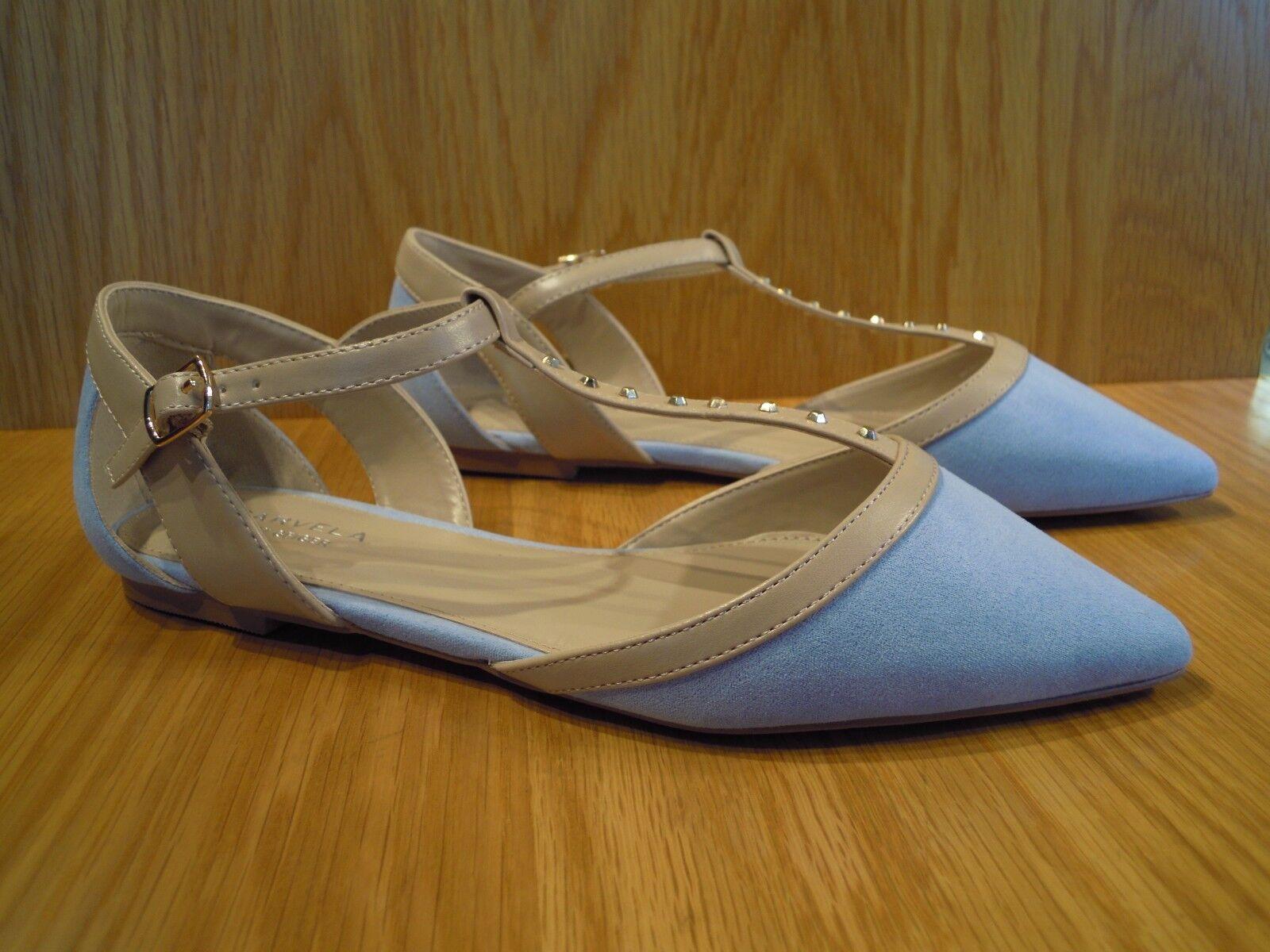 Carvela Ladies shoes Size 8 T Bar Flats Nude bluee Kurt Geiger Pointed Toe shoes