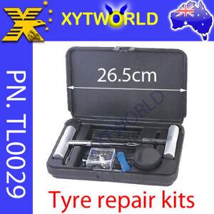 Tyre Tire Puncture Repair Plug Kit Valve Tool Car Truck Motor bike hard case