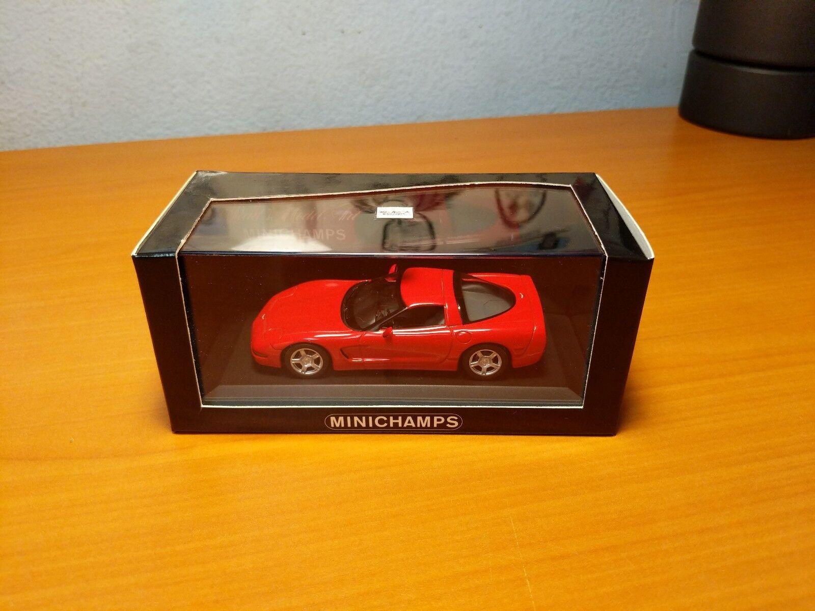 Minichamps 1 43  430142620 Estuche de coche 1997 Corvette Rojo seis
