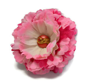 5 inch double peony variegated pink white silk flower hair clip image is loading 5 inch double peony variegated pink white silk mightylinksfo Choice Image
