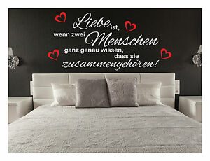 wandtattoo liebe ist spr che herz schlafzimmer wandtatoo aufkleber 120 ebay. Black Bedroom Furniture Sets. Home Design Ideas