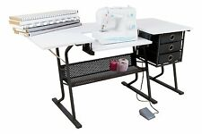 Sewing Table Machine Storage Craft Cabinet Desk Shelves Bins Baskets Sew White