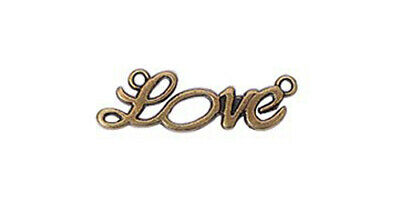 5 Love Connector Pendants Antiqued Bronze Word Charms Links Inspirational 35mm