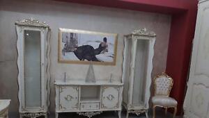 Porta Tv Foglia Oro.Parete Attrezzata Vetrine E Mobile Porta Tv In Legno Panna E Foglia Oro