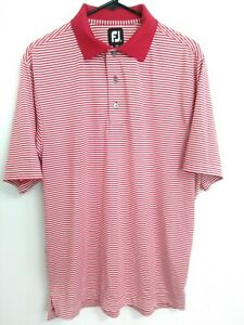 FootJoy FJ Mens Medium Red White Striped Short Sleeve Active Golf Polo Shirt