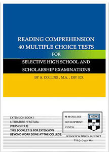 READING COMPREHENSION 40 MULTIPLE CHOICE TEST for Selective High School TEST 9780646286556