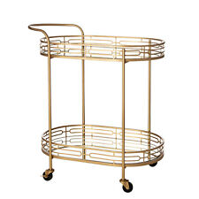 Glitzhome 30''H Deluxe Metal Oval Mirrored Glass 2 Shelves Bar Wine Serving Cart