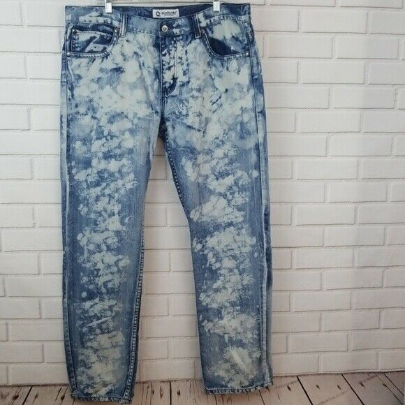 Akademiks Men's 40 x 34 Acid Wash Straight Denim Jeans