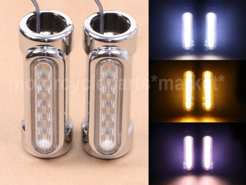 "Harley Touring DRL Turn signals 1.25/"" Crash Bar Light LED White Amber Motorcycle"