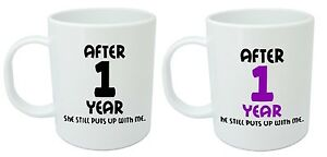 After 1 Year Him Her Mugs 1st Wedding Anniversary Gifts For