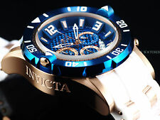 New Invicta Mens 50mm Pro Diver Quartz Chronograph 18K Rose Gold Blue Dial Watch