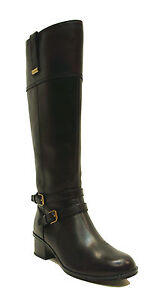f5bda8c39b6 Details about Bandolino Black Leather Tall Riding Boots CARLOTTA Women's  Shoes Wide Calf US 5