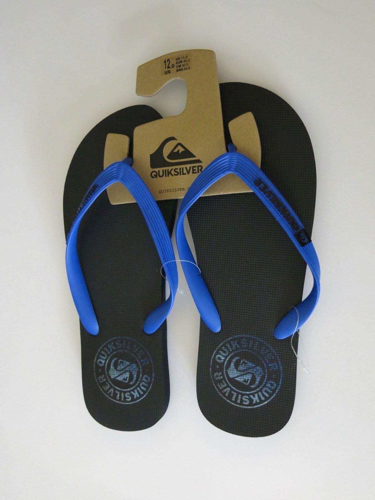 591af486a3e019 Quiksilver 12 Men s Flip Flops Sandals Shoes Black Black Black and Blue  Surf Beach Summer dfbb55