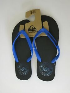Quiksilver 12 Men s Flip Flops Sandals Shoes Black and Blue Surf ... 275b7bac5b1