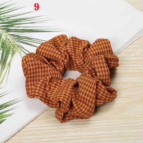 Women Plaid Hair Bands Hair Scrunchies Hair Ties Accessories Ponytail Holder