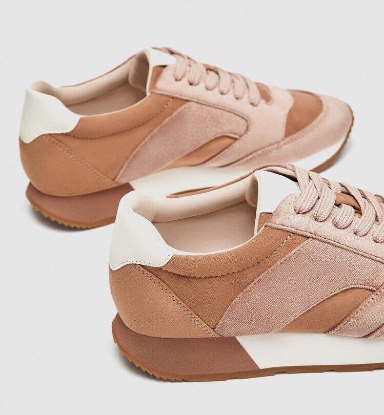 New   Sneakers  Zara Pink Velvet Sneakers  Größe 7 990bd4