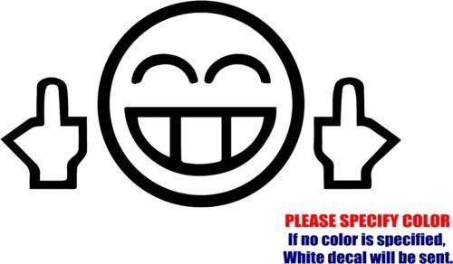 "MIDDLE FINGER SMILEY #02 Car Truck Bumper Window Fun 7/"" Vinyl Decal Sticker"