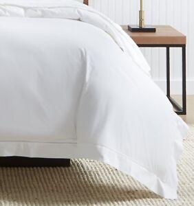 Sferra Analisa White Italian Cotton Percale Duvet Cover