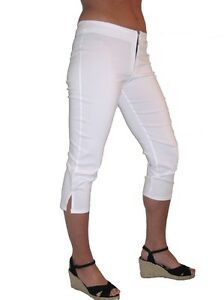 1236 casual pedal pushers bullit zip day white 6-18 NEW